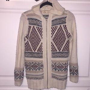 Hollister fair isle zippered cardigan hood sweater